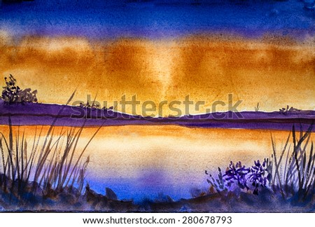 Original art, watercolor painting of lake at sunset - stock photo