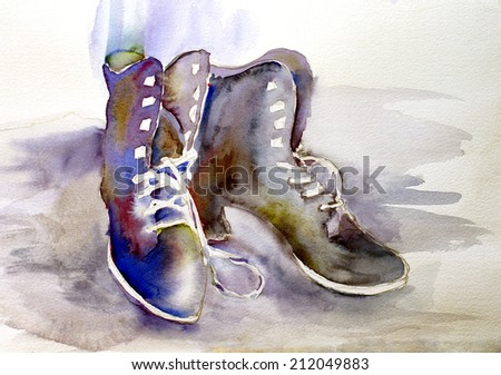 original art, watercolor painting of old boots with laces - stock photo