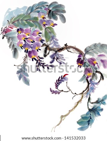 original art watercolor painting of oriental style hanging flowers - stock photo