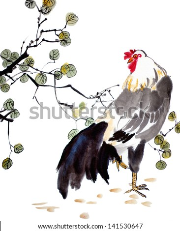 original art watercolor painting of oriental style rooster in garden - stock photo