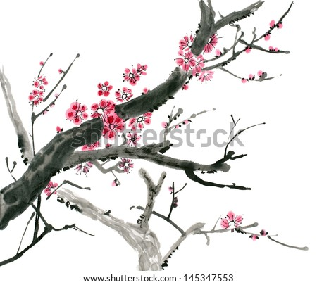 original art, watercolor painting of pink spring blossoms on tree branch - stock photo