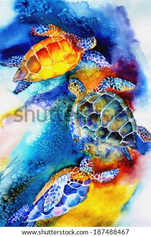 original art, watercolor painting of sea turtles swimming - stock photo