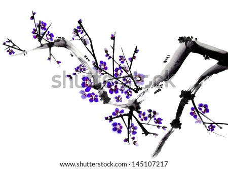 original art, watercolor painting of tree branch with blossoms, Asian style - stock photo
