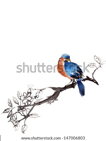 original art, watercolor painting of tropical bird with red and blue feathers perched on flowering branch and looking right - stock photo