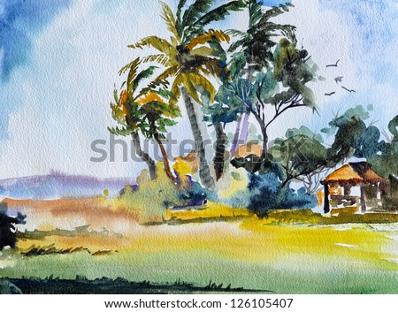 original art, watercolor painting of tropical scene with palm trees - stock photo