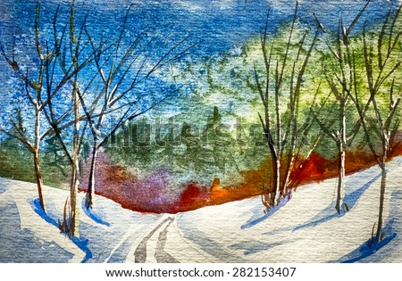 Original art, watercolor painting of winter snow scene - stock photo