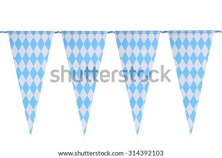 Original Bavarian bunting festoon from Germany with diamond pattern. Classic beer tent decoration. Isolated on white. - stock photo