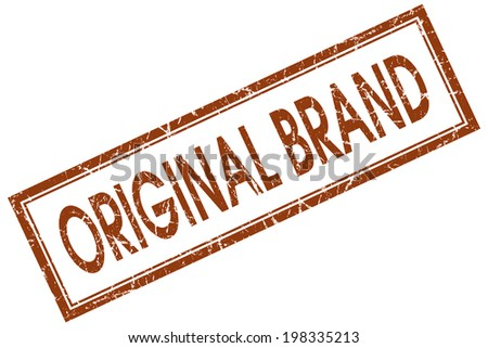 Original brand brown square grungy stamp isolated on white background - stock photo