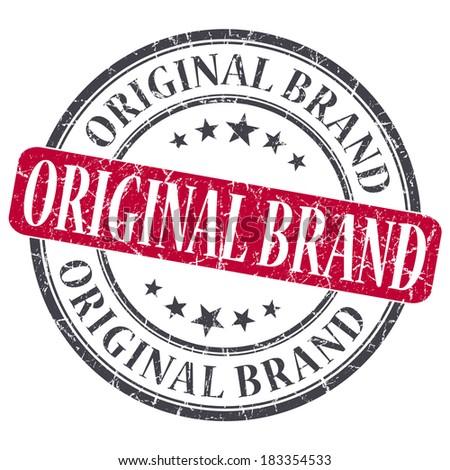 Original Brand red grunge round stamp on white background - stock photo