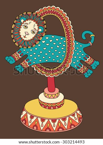 original colored line art drawing of circus theme - a lion jumps through a ring, raster version illustration - stock photo