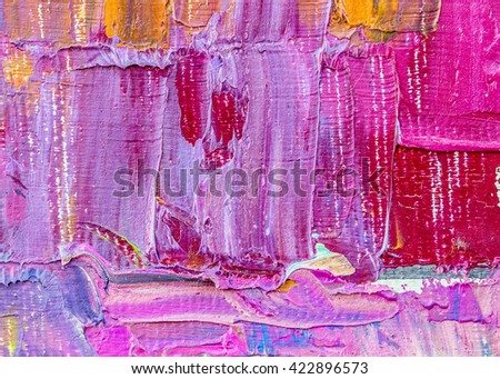 original colorful oil painting brush strokes texture background, pink  tone - stock photo