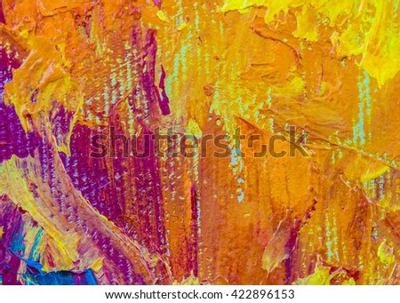 original colorful oil painting brush strokes texture background, warm tone - stock photo