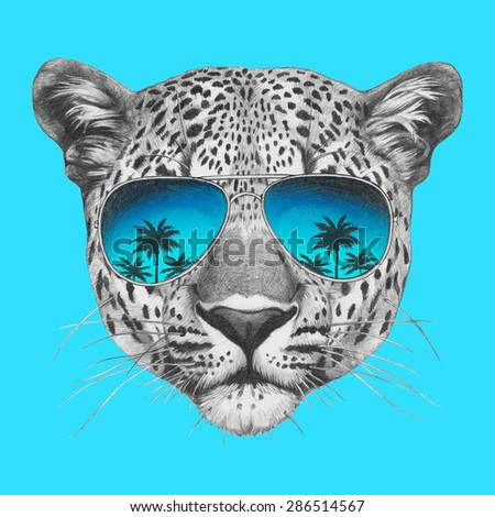 Original drawing of leopard with mirror sunglasses. Isolated on colored background - stock photo