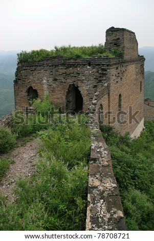 original ecology of the great wall pass in china - stock photo