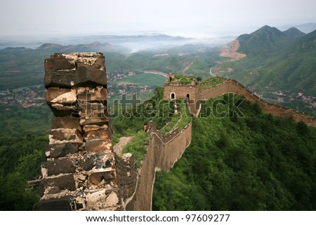original ecology of the great wall pass in north china - stock photo