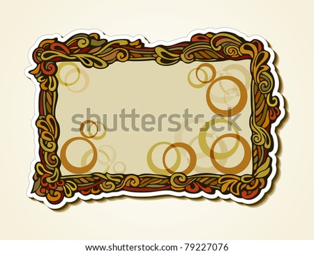 Original frame in retro style with floral elements for design and decoration (elegant sticker) - stock photo