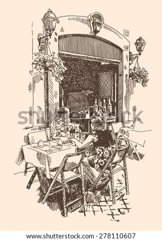 original hand drawing of european street outdoor cafe in Rome, Italy, romantic raster version - stock photo