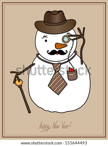 original hipster snowman in a hat, tie, mustache with monocle, concept winter illustration, merry christmas! happy new year! Raster version - stock photo