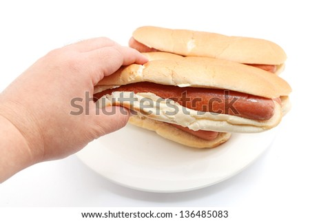 Original hot dog Isolated on white background - stock photo