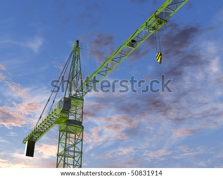 Original illustration of an imposing tower crane at twilight - stock photo