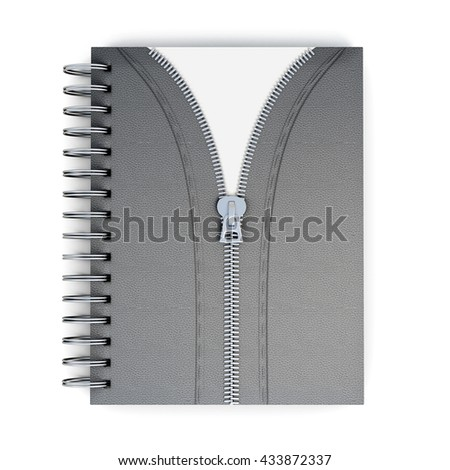 Original notepad isolated on white background. Decorative zip. Spiral-bound. Leather cover. Conceptual image. 3d rendering. - stock photo