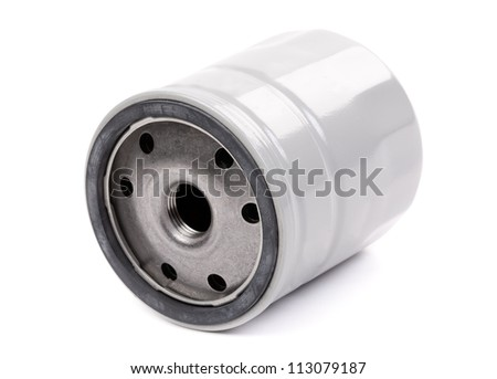 original oil filter car, a gray body. Isolate on white. - stock photo
