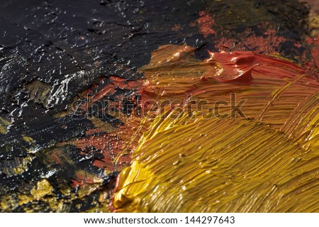 Original Oil Painting brush strokes, closeup, mixed thick oil paint - stock photo