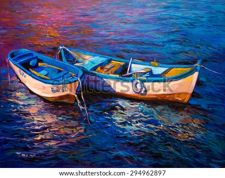Original oil painting- fishing boats - Modern impressionism by Nikolov - stock photo