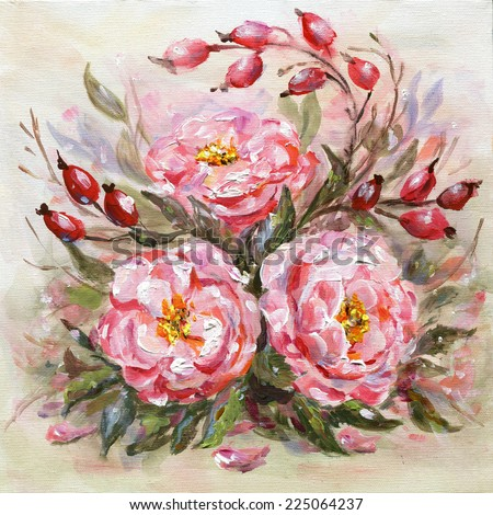 Original oil painting illustration of Wilde rose (Rosehips, Dog rose, Rosa canina) flowers and fruits   - stock photo