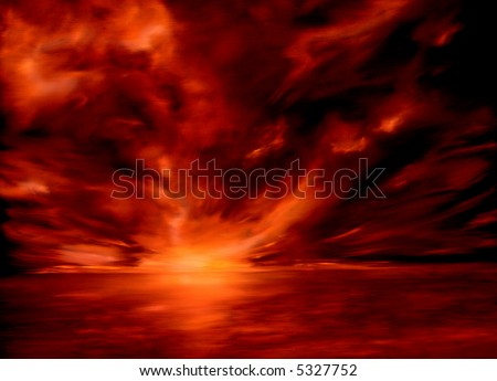 Original Oil Painting of a fiery red cloud formation on Pacific coast - stock photo