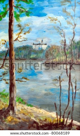 Original oil painting of a landscape - stock photo