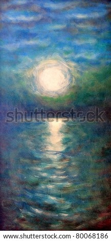 Original oil painting of a water and sun - stock photo