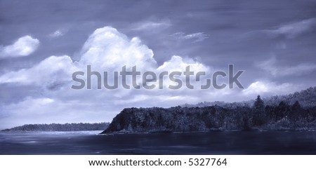 Original Oil Painting of Auke Bay In Alaska - stock photo
