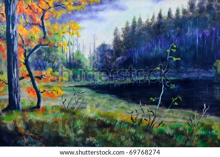 original oil painting of autumn forest - stock photo