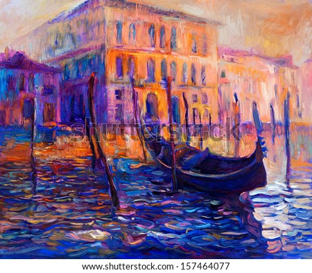 Original oil painting of beautiful Venice, Italy at sunset  on canvas. Modern Impressionism - stock photo