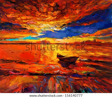 Original oil painting of boat  and sea on canvas.Rich Golden Sunset over ocean.Modern Impressionism - stock photo