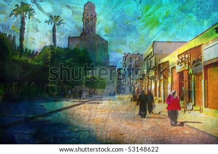 original oil painting of Khan El Khalili bazaar area cairo egypt - stock photo