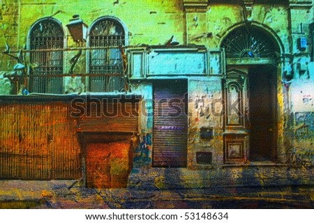original oil painting of Ornate old Arabic architecture - stock photo
