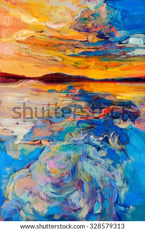 Original oil painting of sea and sky on canvas.Sunset over ocean.Modern Impressionism - stock photo