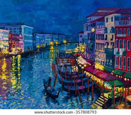 Original oil painting on canvas.Beautiful gondolas at night.Modern art. - stock photo