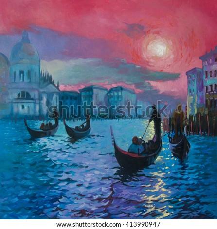 Original oil painting on canvas.Beautiful gondolas in Venice.Modern art. - stock photo