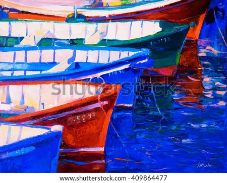 Original oil painting on canvas. Boats and sunset. Modern impressionism - stock photo