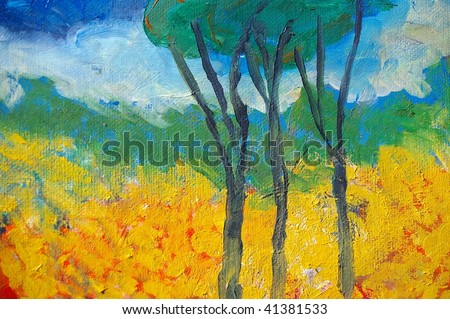 original oil painting on canvas for giclee, background or concept. australian bush abstract landscape - stock photo