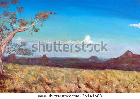 original oil painting on canvas for giclee, background or concept. australian gum tree landscape - stock photo