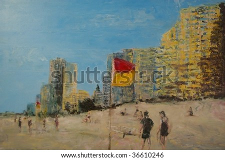 original oil painting on canvas for giclee, background or concept . beach scene on sandy strip with walkers - stock photo
