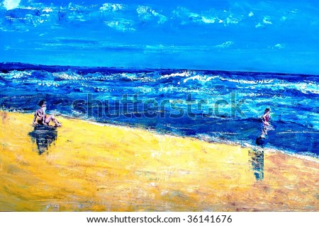 original oil painting on canvas for giclee, background or concept beach scene with mother and child - stock photo