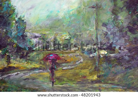 original oil painting on canvas for giclee, background or concept.impressionist painting of person with umbrella - stock photo