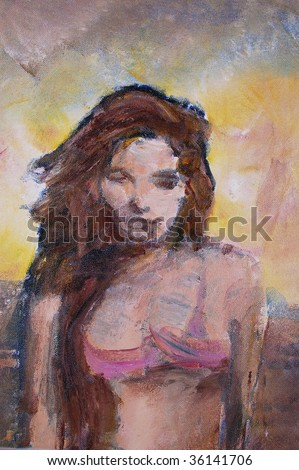 original oil painting on canvas for giclee, background or concept. portrait of bikini woman - stock photo