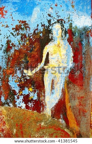 original oil painting on canvas for giclee, background or concept. religious abstract detail - stock photo