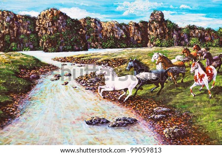Original oil painting on canvas - horses in the forest - stock photo